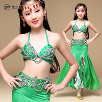 ET-135 Newest arrival satin beaded children belly dance costume with bra and belt set
