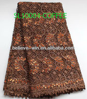 2013 fashion watersoluble embroidery spangles fabric lace coffee