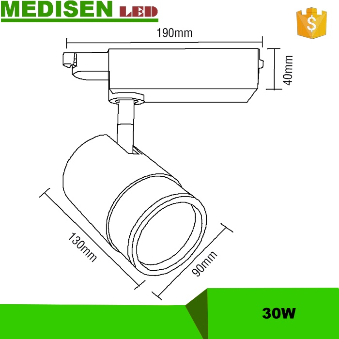 MEDISEN-24W LED Track Rail light 2000lm Spot Light 4wires Led Track Light with CE ROHS