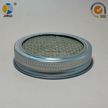70mm silver metal lug cap with mesh sieve for manson jar