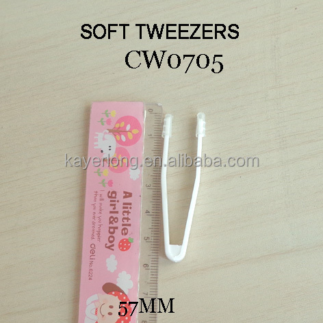 CW0705 made in china wholesale small plastic white tweezers 57mm contact lens protect