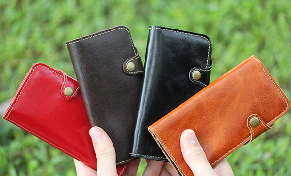 Real leather cell phone case belt holster buttons phone shell multicolor custom back cover for iPhone6