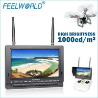 Built in Dual receiver 5.8ghz 32ch wireless portable dvr lcd monitor 7 inch brightness 1000cd/m2 model plastic kits aircraft