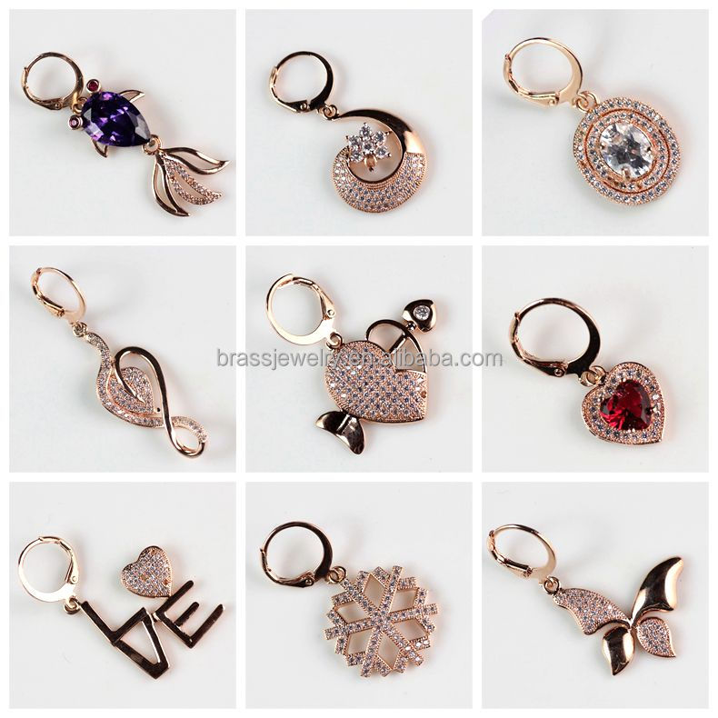 Fashionable Cupid's Arrow Heart Shape Micro Zircon Pave Setting Rose Gold Women's Fashion Drop Earrings Wholesale
