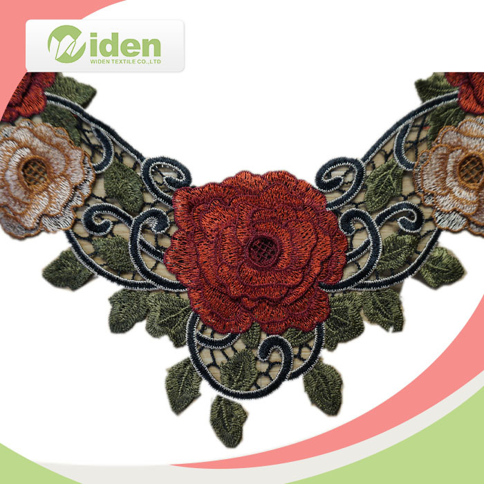 WIDEN ODM Welcomed 100% Polyester Multi Color Fancy 3D Water Soluble Embroidery New Neck Designs Crochet Lace Collar For Girl