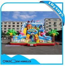 lilytoys cheap land The underwater world characters Square slide stone inflatable bouncer castle with slide for sale