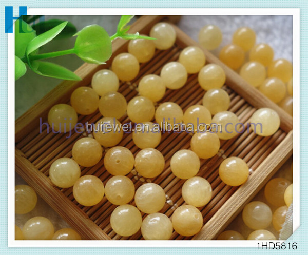 half drilled yellow jade beads diy stone beads for earrings accessories jewelry 4~12mm