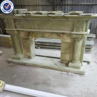 Natural Stone Polished White Marble Fireplace
