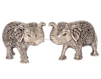 Decorative White Metal Elephant Pair Statue in India