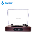 wooden fm radio record player lp turntable with bluetooth and usb recording