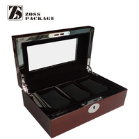 High quality retro style window wooden watch box with 3 slots