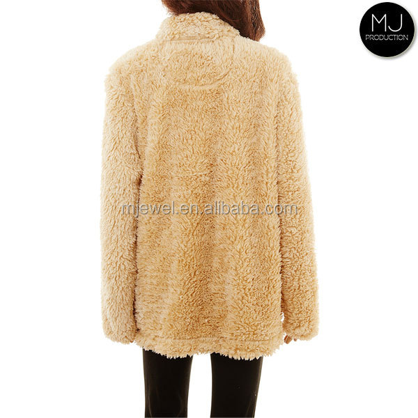 Factory custom hot selling women frosted quarter zip sherpa fleece pullover wholesale