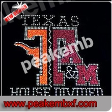 Hot Sale House Divided Iron ons Rhinestone Texans Hotfix Transfer Designs for Clothing Wholesale