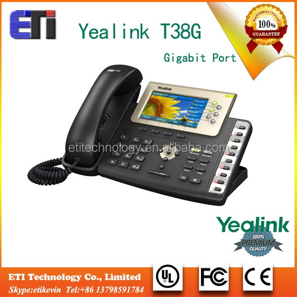 SIP-T38G AC Voip IP phone 6 VoIP accounts small business pbx