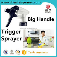 Plastic 28 400 big handle trigger sprayer white and black color with ribbed closure use in bottle dosage rate1.6ml can custom