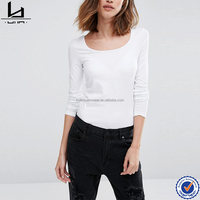 Clothing manufacturers soft touch semi-sheer finish womens skinny t-shirt blank tshirt no label