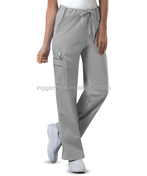 Unisex Cotton Polyester Multi Pocket Medical Scrub Cargo Pants
