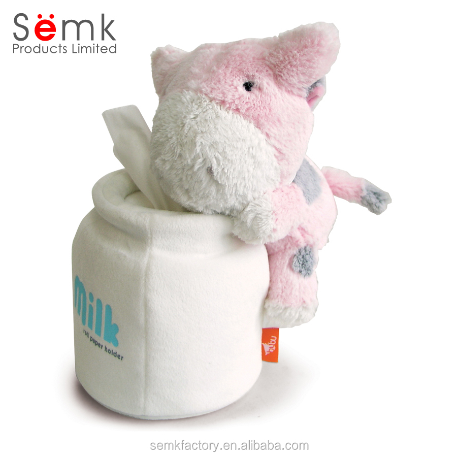 China factory wholesale price novelty plush animal tissue box cover