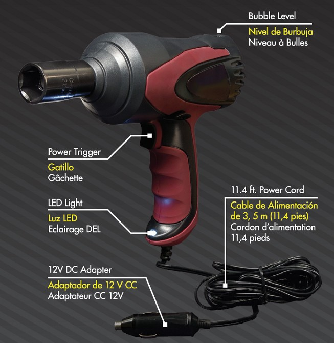dc12v truck tire impact wrench and jack kit