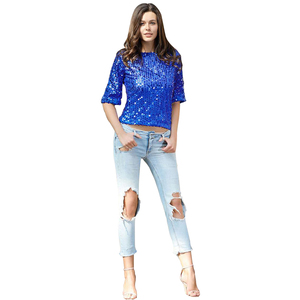 2018 Hot Sale Products Latest European Fashion Ladies Party Wear Black Rose Gold Women Long Sleeve Sequins Tops