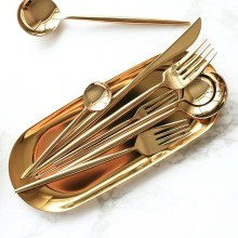Factory Wholesale Price OEM Laguiole Gold Stainless Steel Cutlery Set