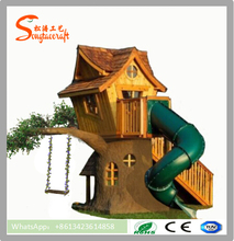 High quality customized artificial tree house in playground for children play land equipment outdoor plastic tree house wooden