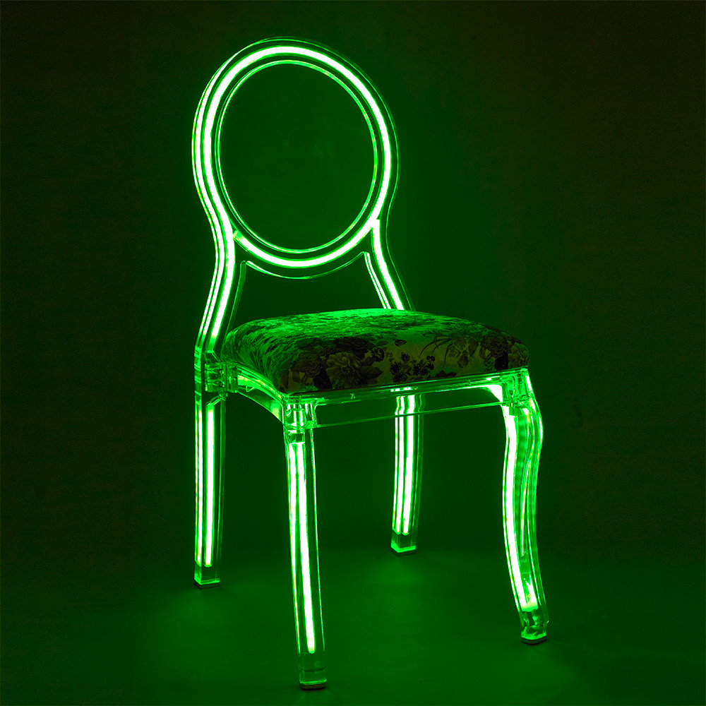 Acrylic wedding chair, colored acrylic led chair