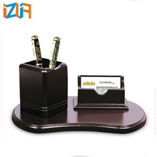 Office decorative wooden desk organizer doctor pen holder with card holder