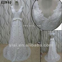 RSW-40 YIAI Popular Factory Outlet Customed Beautiful Lace And Pearl Satin Sashes Hollow Back Ladies Fashion Wedding dress