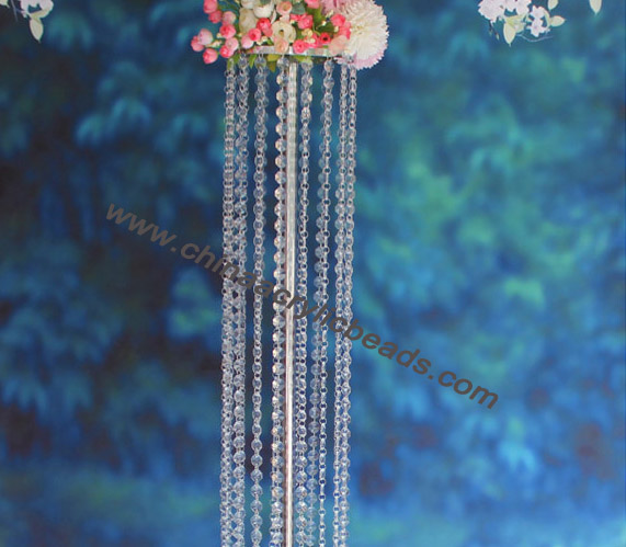 150CM chrome silver flower holder table top & crystal chandelier for wedding centerpiece