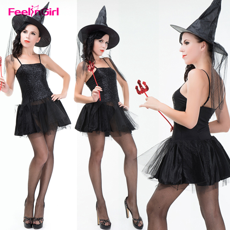 China Suppliers Wholesale Black Shinning Dress Halloween Witch Sex Cosplay Costume