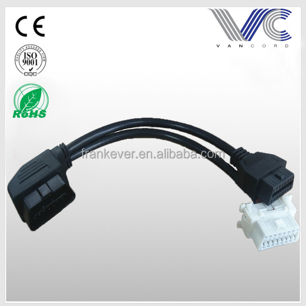 Angle Plug OBD2 Male to Dual Female Adapter Extension Cable 20cm OBD II for Automotive Diagnostic