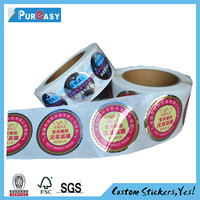Beautiful color printing private label and circle logo skin care product decal printing
