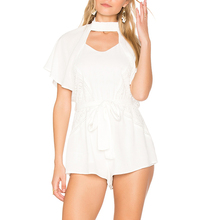 YL Women Fashion Cream Cut-out back with cape overlay Dress Waist tie short Sleeve Mini Casual playsuit for Wholesale