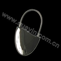 shiny silver decorative metal carabiner key chain