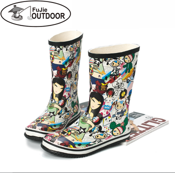 Latest Fashion Trendy Waterproof Cartoon Ladies Rubber Rain Boot