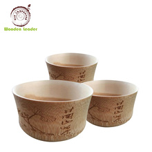 Wholesale custom food grade hand carved natural finish wooden bowls