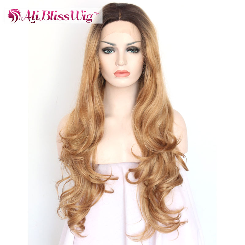 "24"" Straight Wavy Middle Part Multi Layered Haircuts Long Hair Two Tone Ombre Blond Synthetic Lace Front Wigs for Black Women"