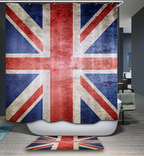 Fancy Polyester Printed Bathroom Shower Curtain With British Flag Design