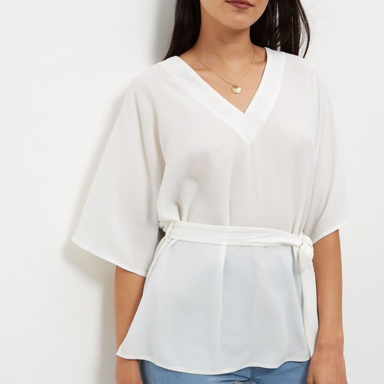 Latest Design Cream Wide Sleeve Belted Girls Tops For Women 2016 JDL010