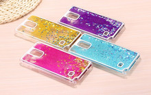 For Note4 Cute Liquid Glitter Sand Star Case For Samsung Galaxy Note 4 N910 Crystal Clear Phone Back Cover Coque Quicksand