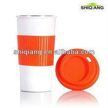 450ml 16oz double wall high grade stainless steel thermal coffee mugs with silicon lid and sheath on the body