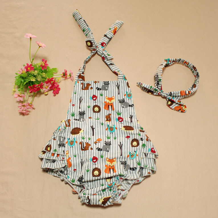 Seersucker petti rompers cotton straps backless dress sunsuit with floral headband baby romper carters manufacture