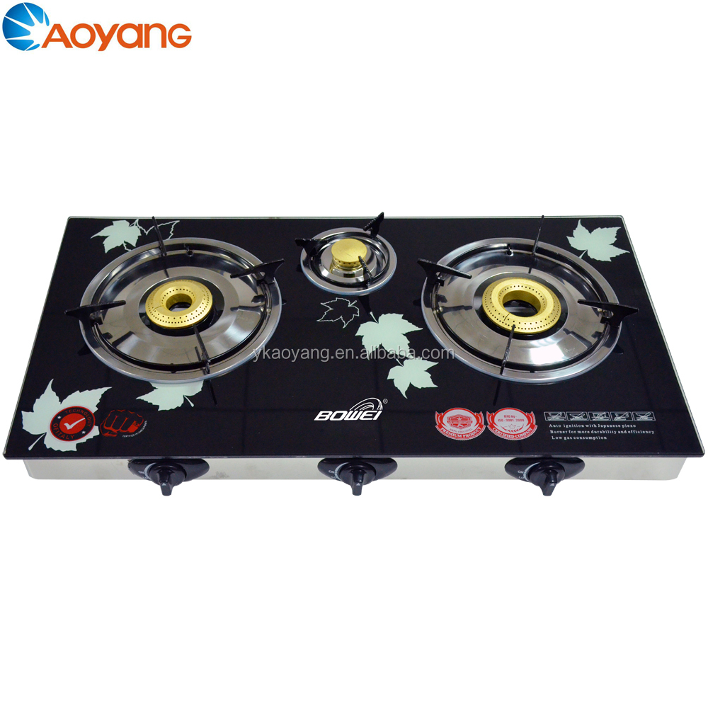 Indoor portable gas cooker 3 burner gas cooktop with glass top BW-BL3009