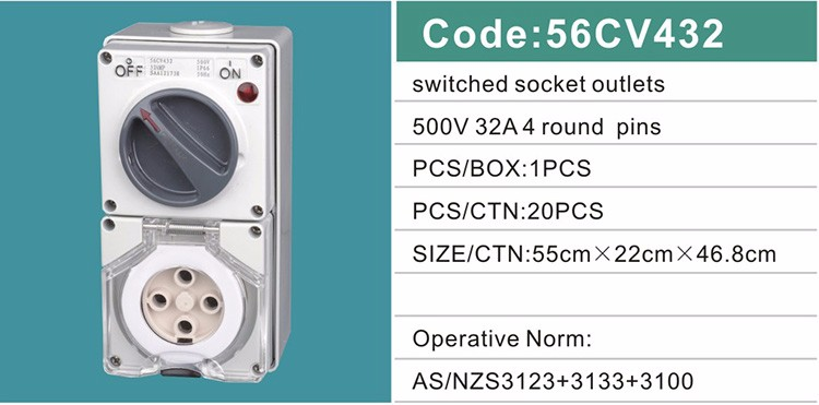 56CV432 32A/500V 4 Poles Industrial Water-resistant Electrical Combination Switch Socket