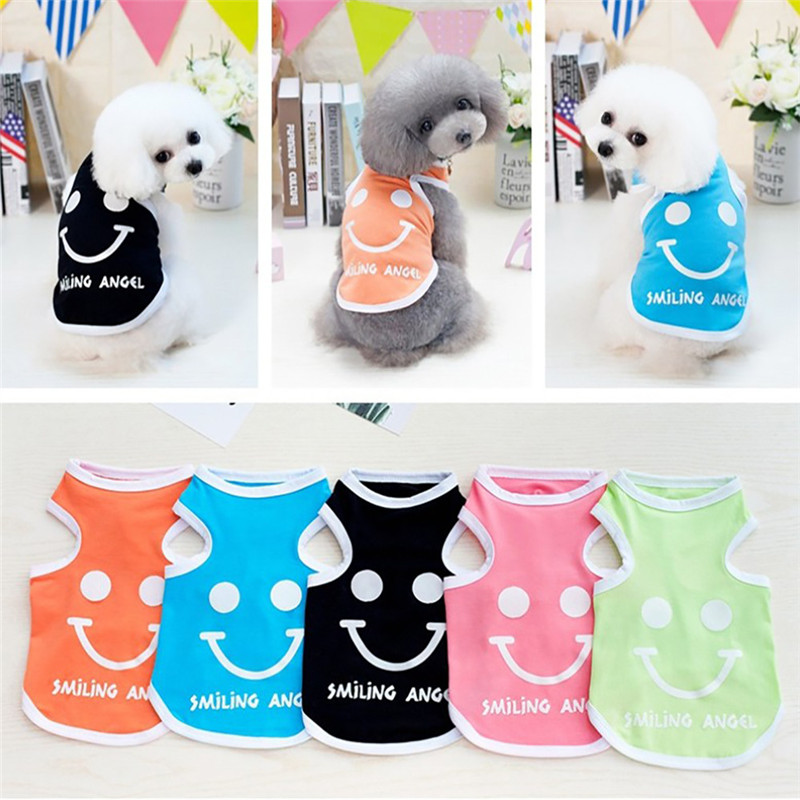 New 1PC Spring Summer Cute Clothes Smile Pet Dog Vest