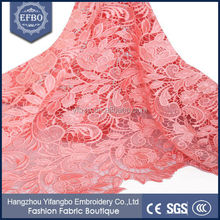 High quality custom peach nigerian cord lace / embroidered 2 colour baby cord lace fabrics for family dress