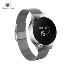 Smart Wristband Intelligent Heart Rate Blood Pressure Monitoring bracelet vibrating Stainless Steel Business watch band