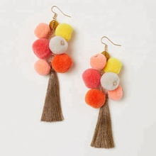 Hot Selling 2018 New Arrival Gold Jewelry Pom Pom Hoop <strong>Earrings</strong> For Women