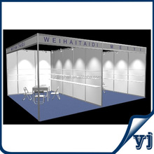 Guangzhou manufacturer 6x5m interlinked aluminum tradeshow booth/trade fair booth with shelves
